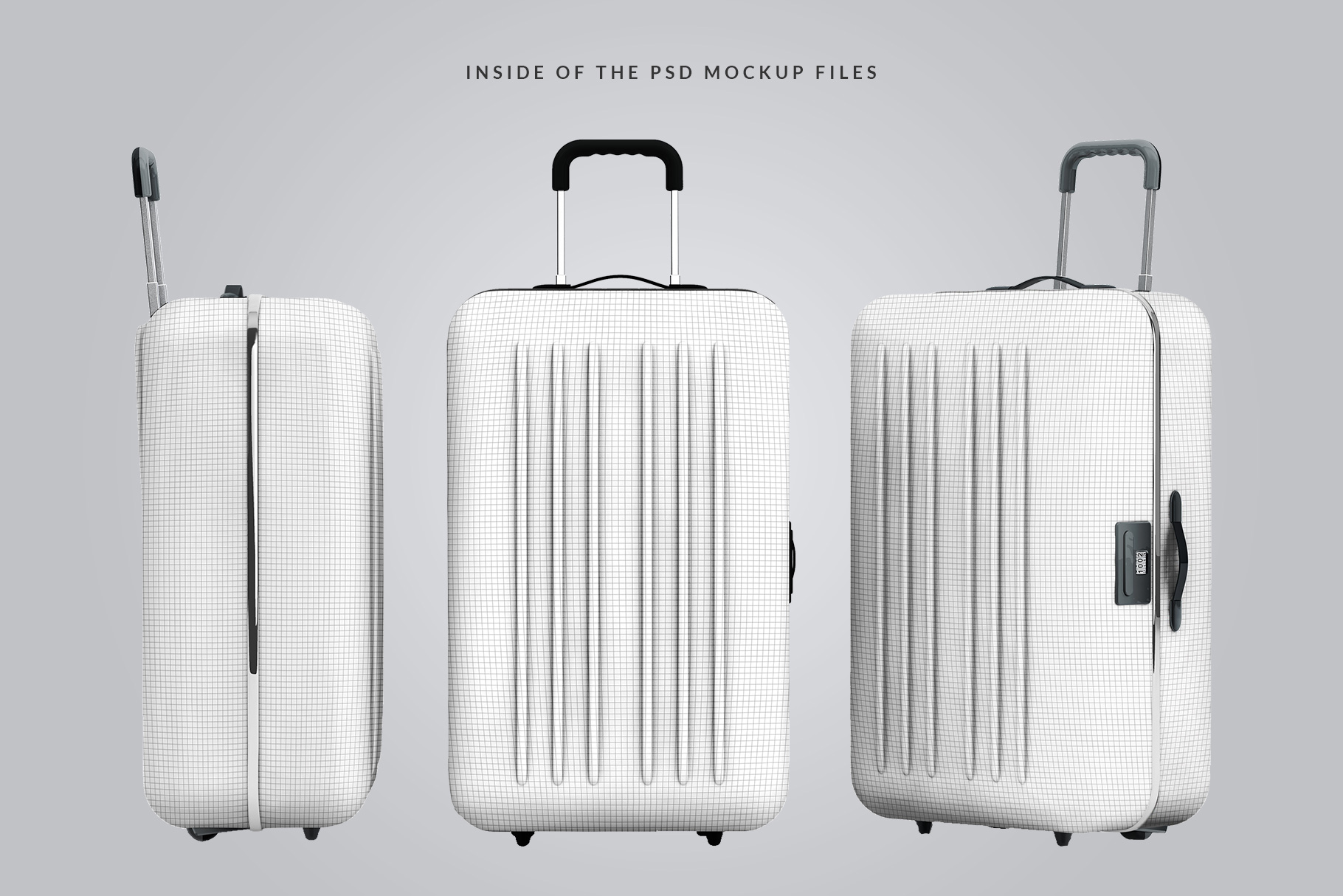 inside the psd files look of the tourist trolley luggage mockup