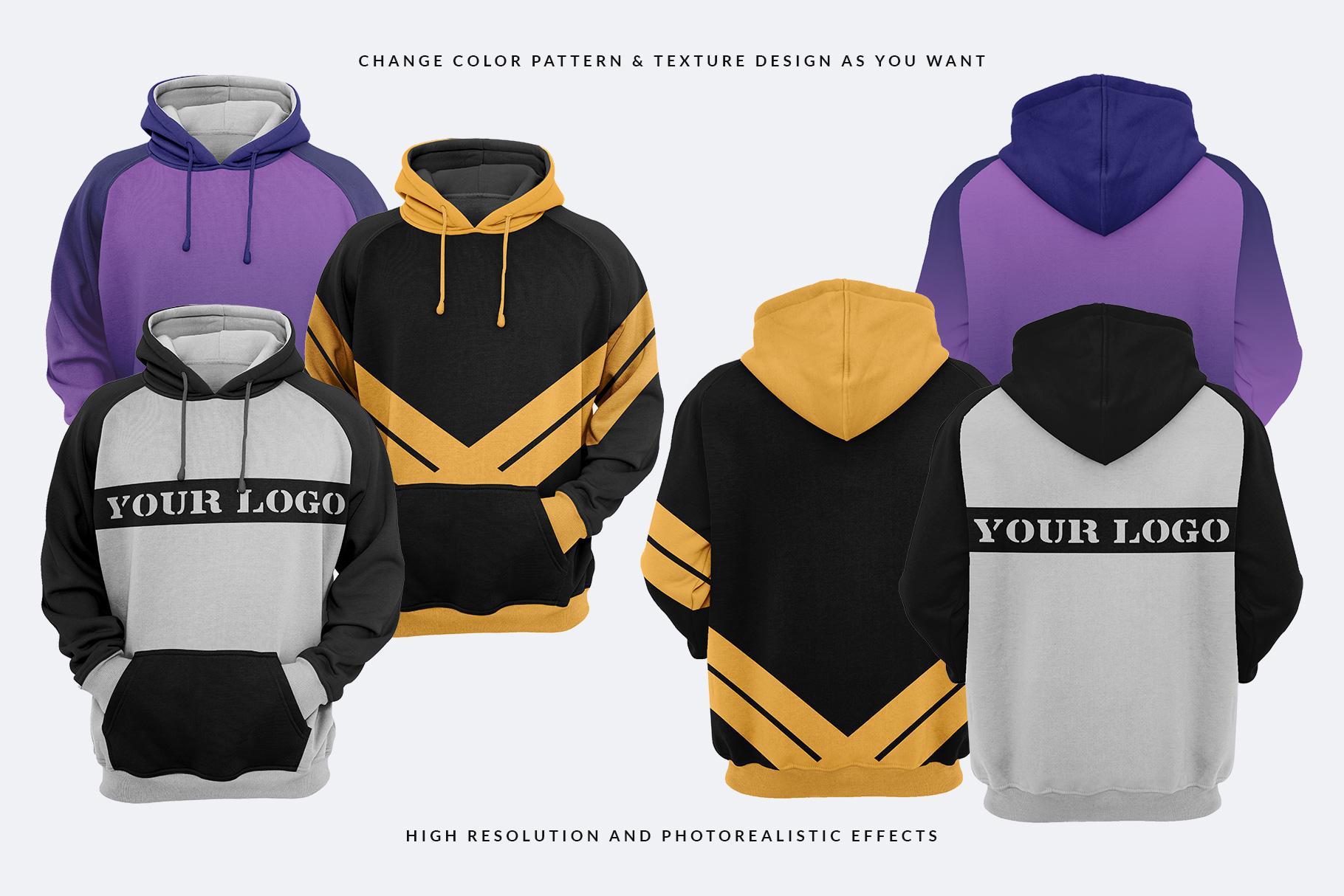 variations of men hoodie mockup