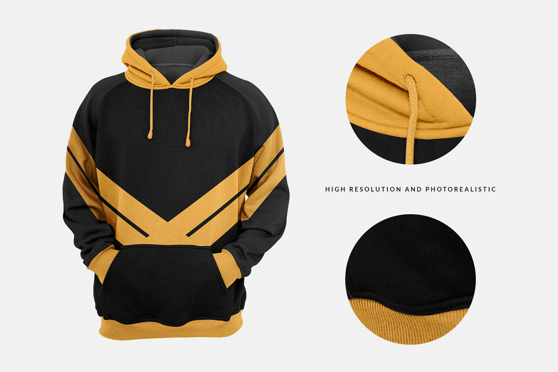 high resolution and photo-realistic effects of men hoodie mockup