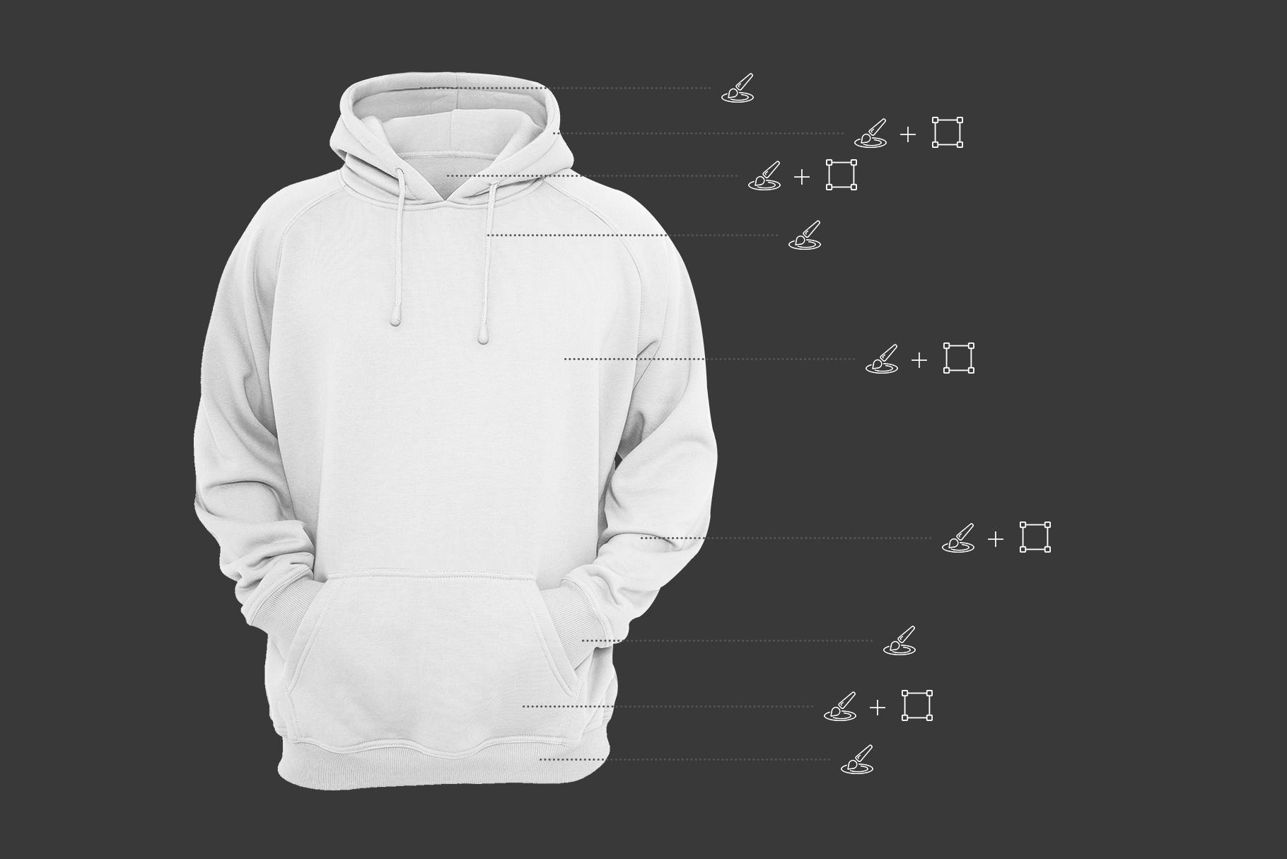 editability options of men hoodie mockup