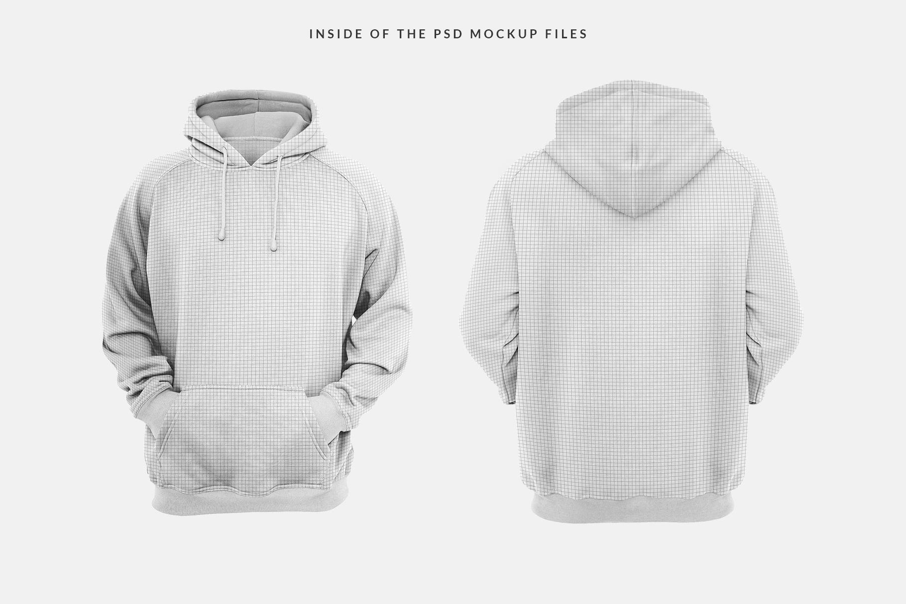 inside of the psd files of men hoodie mockup