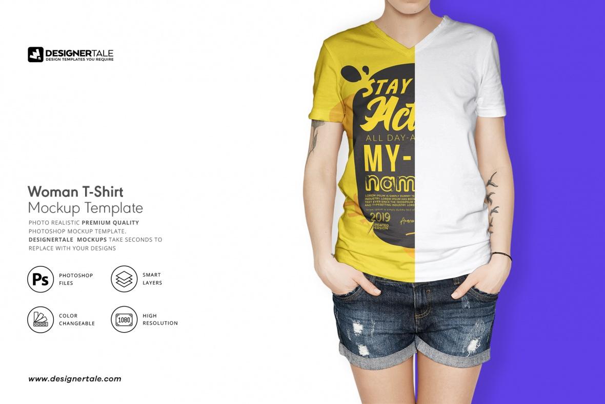 female t-shirt mock up download designertale