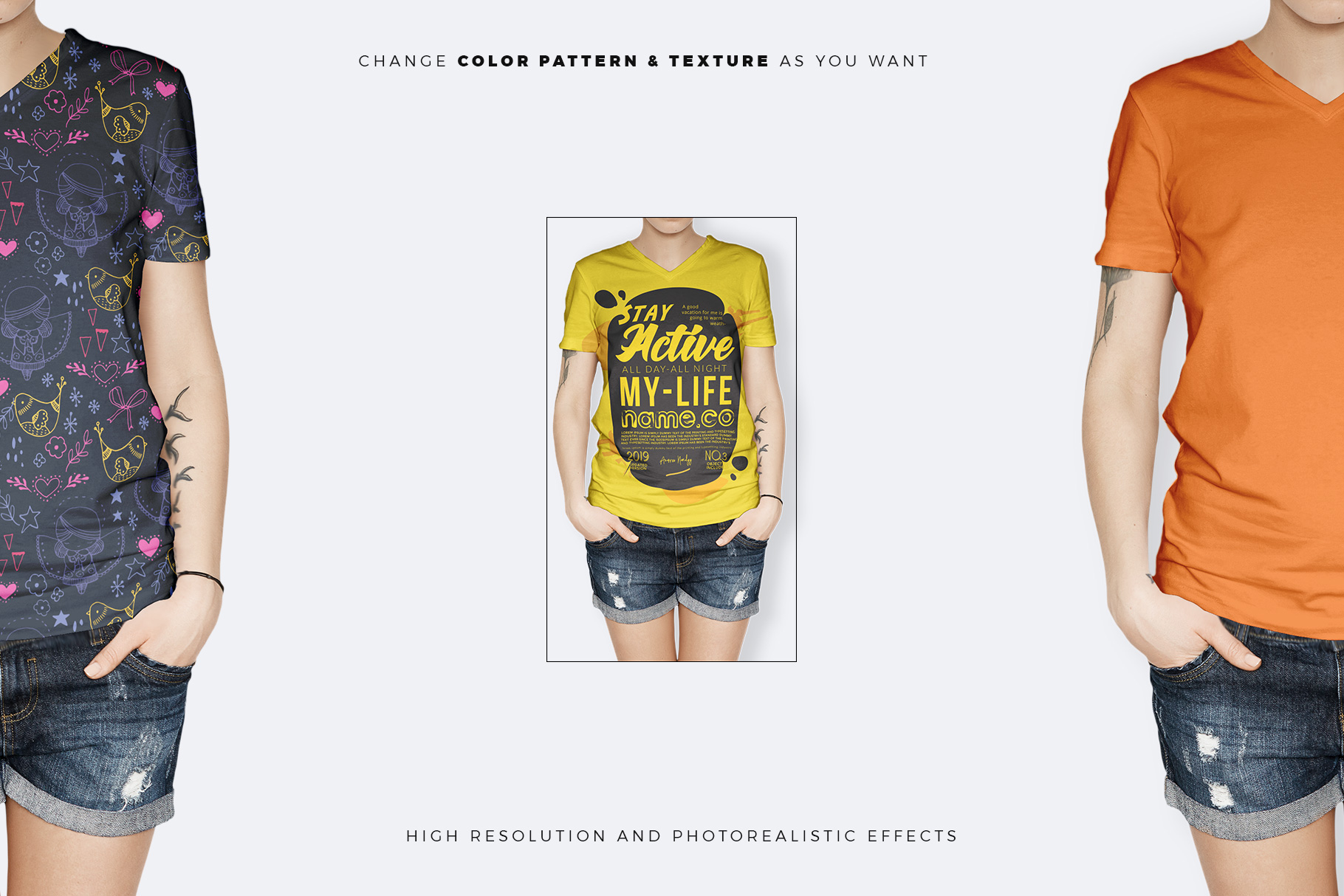 female t-shirt mock up color, texture and logo change easily option presented