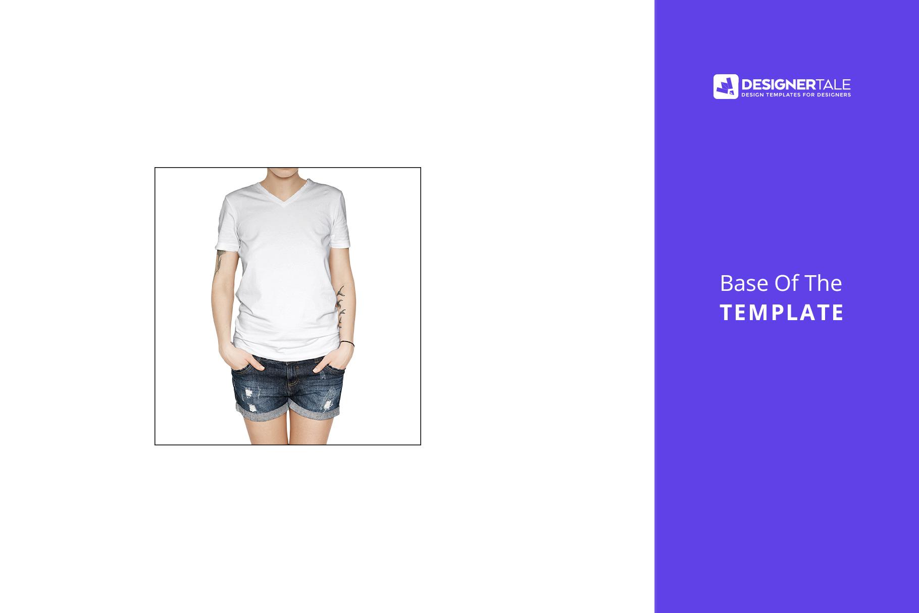 female t-shirt mock up PSD black downloadable file visual