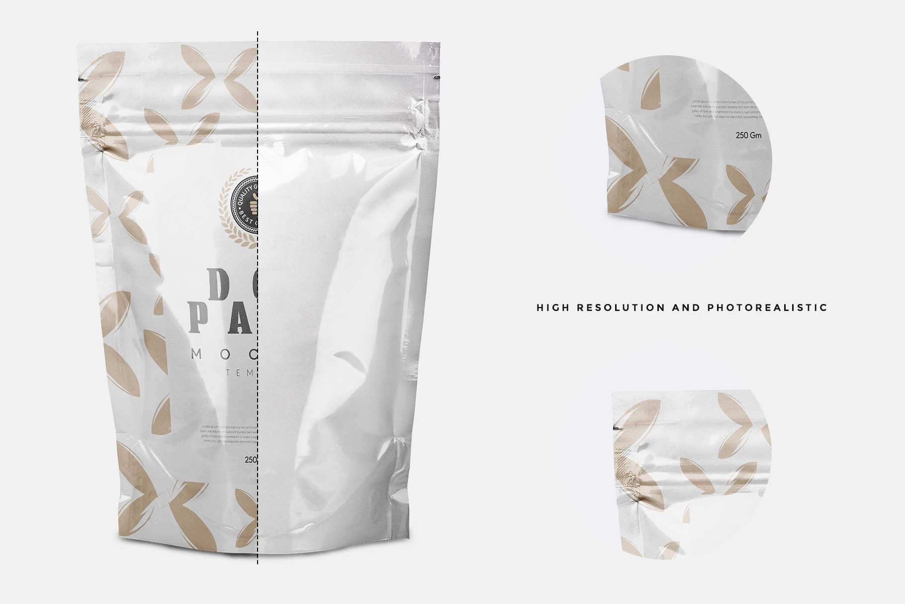Doypack pouch packaging label presentation on the mockup PSD file