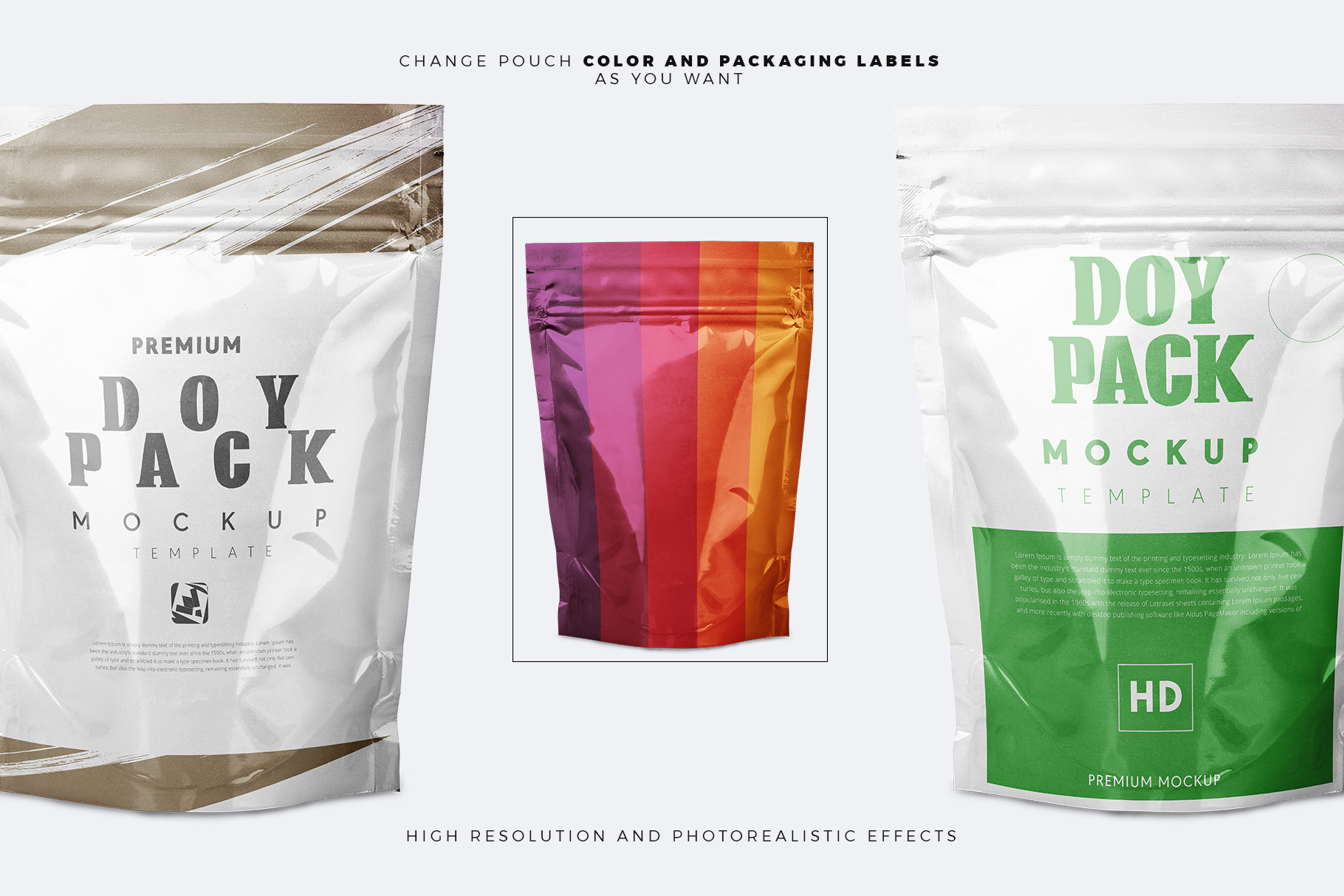 doypack pouch mockup templates color change option, label change options presented