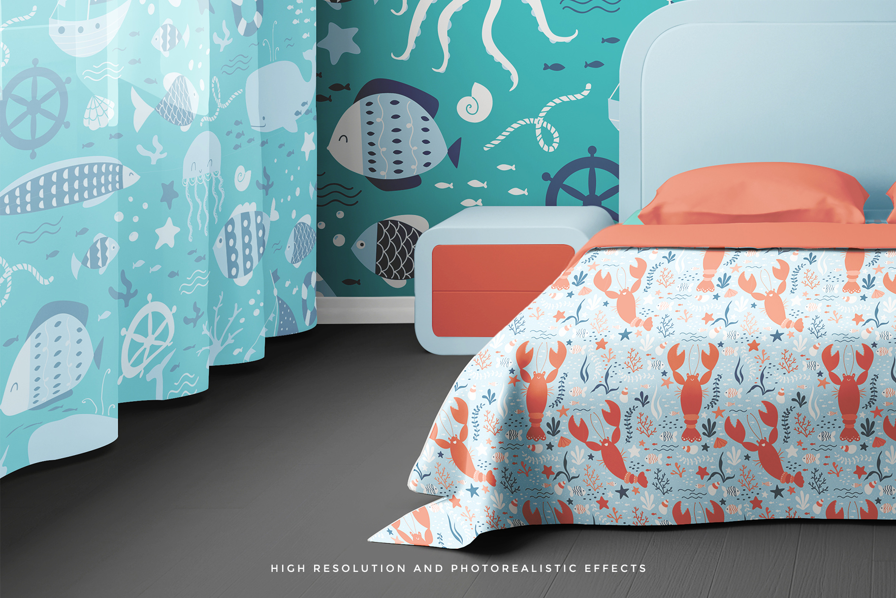 high resolution photorealistic effects of the bedroom interior mockup