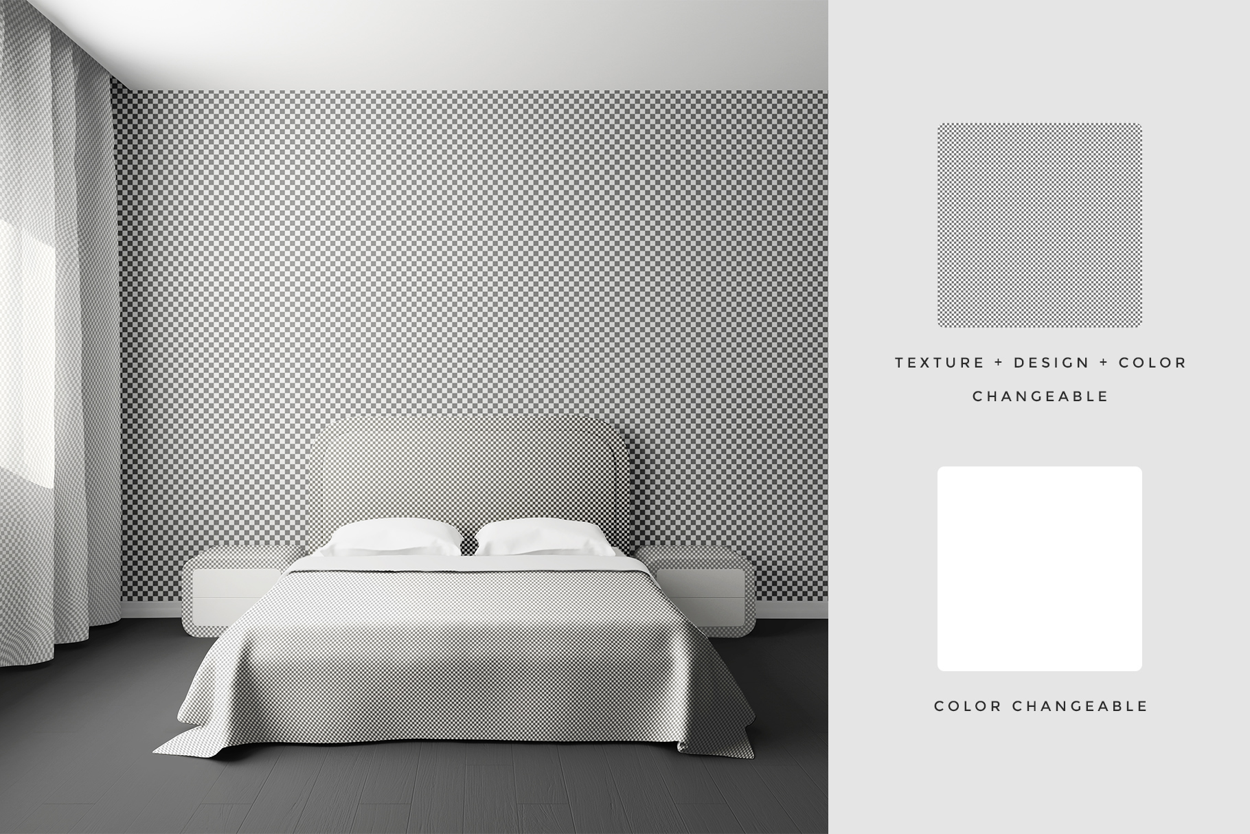 editability options of the bedroom interior mockup