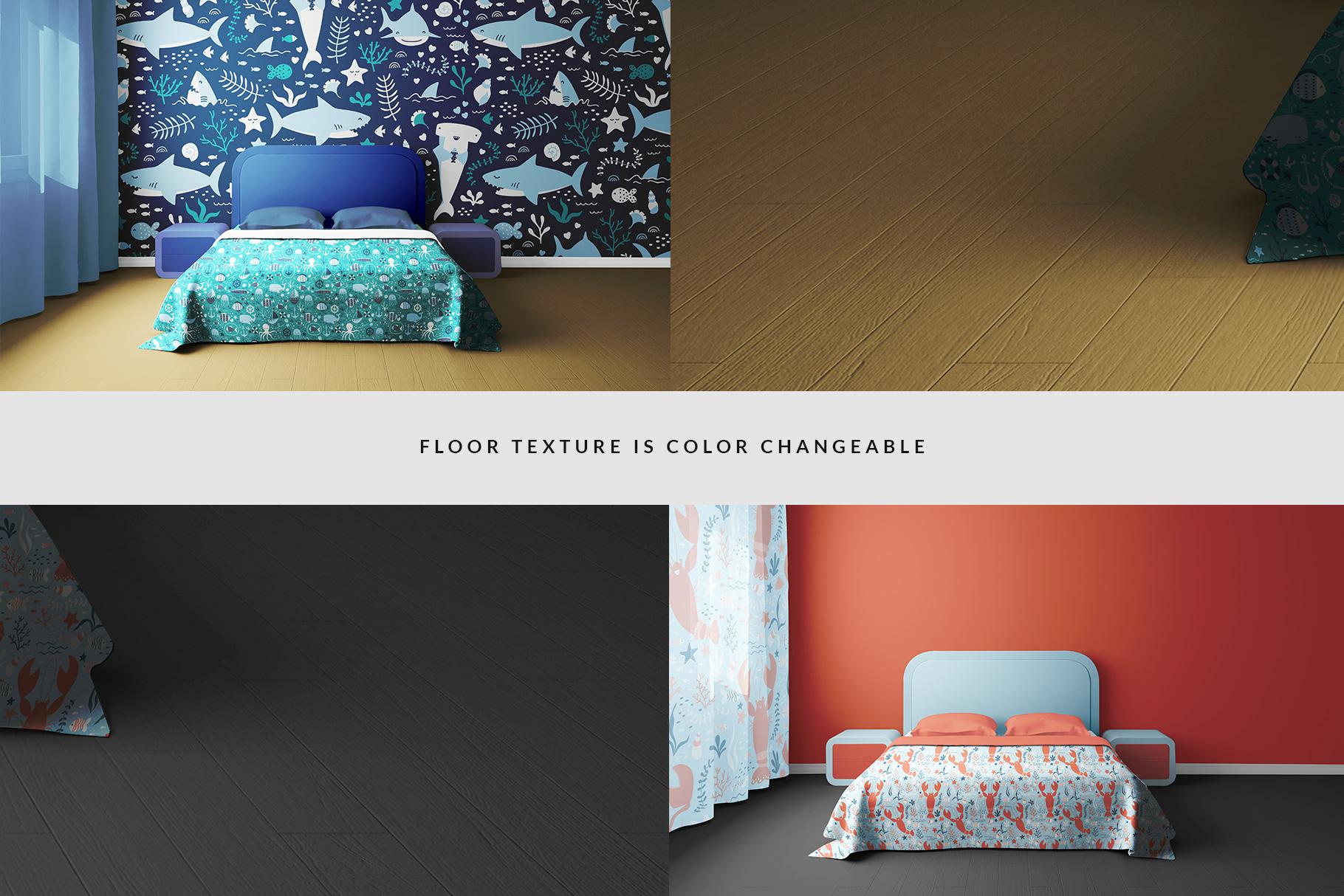 floor color change option of the bedroom interior mockup