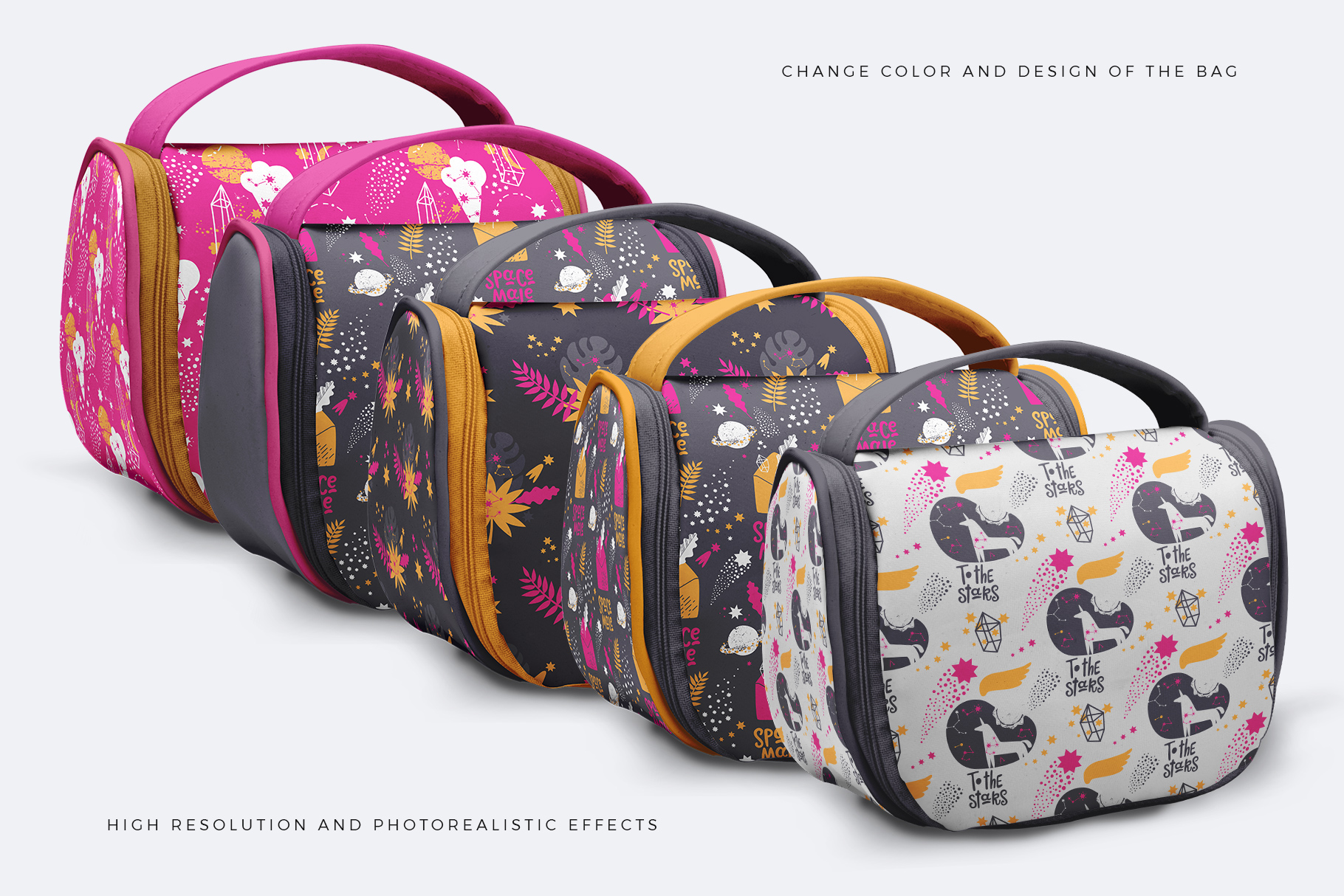 variations of the travel cosmetic bag mockup