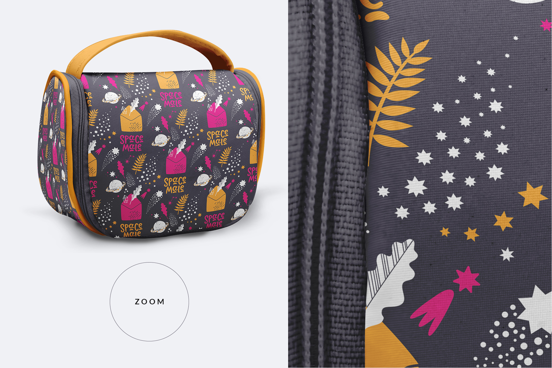 zoomed in image of the travel cosmetic bag mockup
