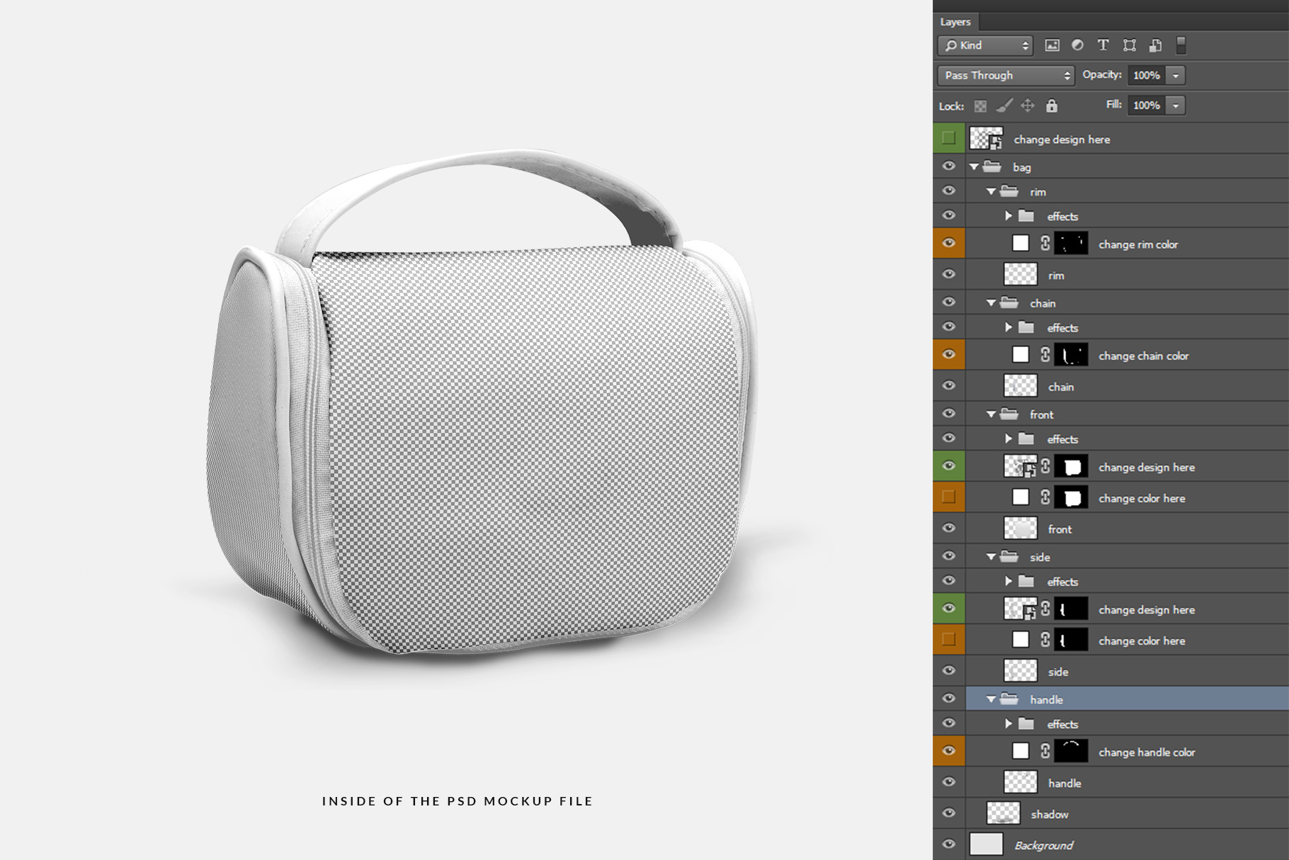 inside of the psd file of the travel cosmetic bag mockup