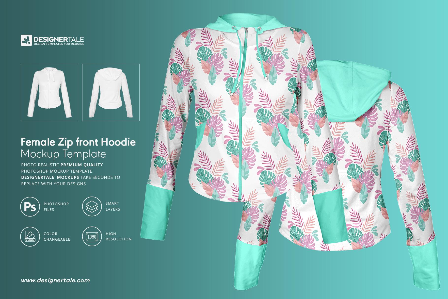 female zip front hoodie mockup