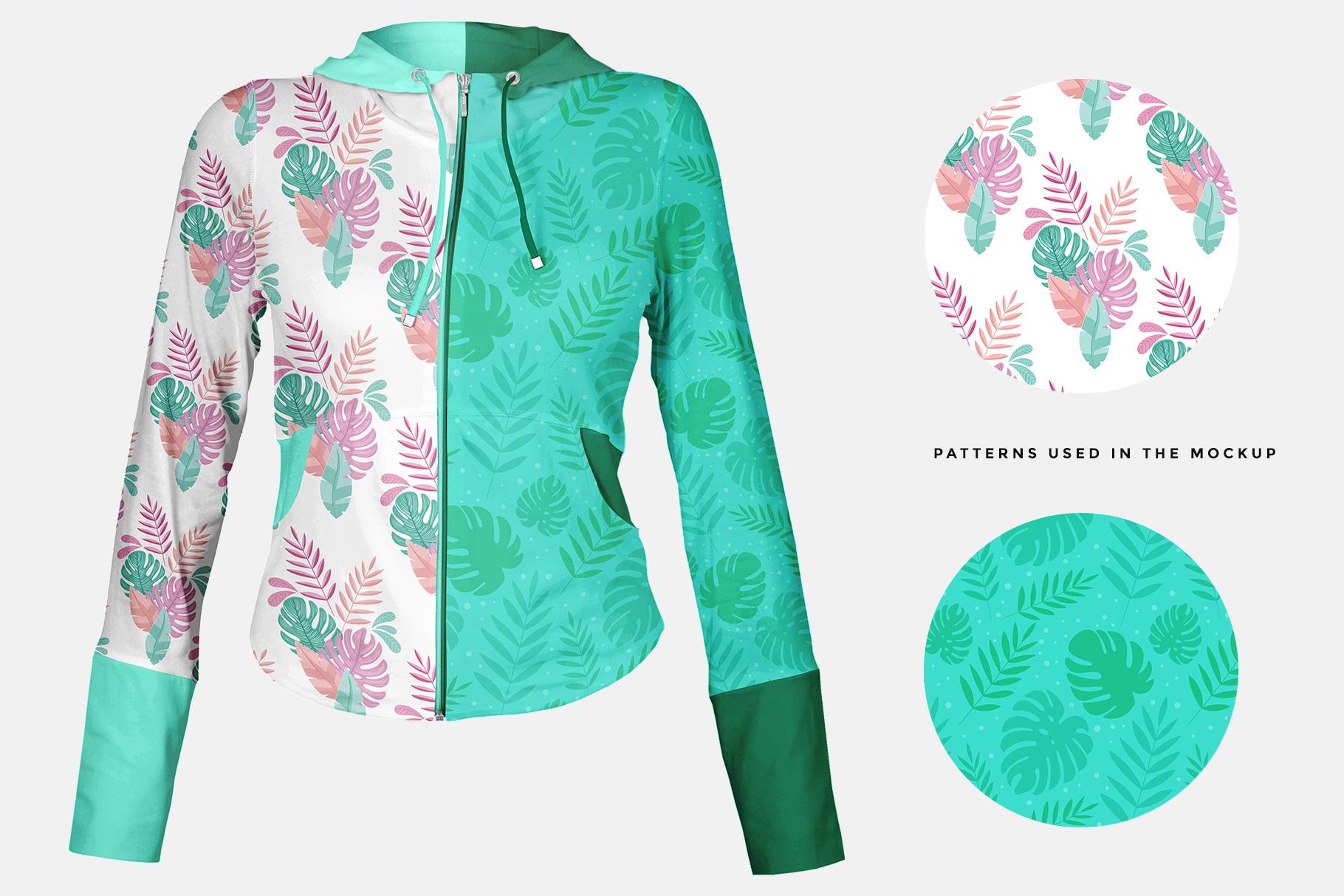 Patterns used in the female zip front hoodie mockup