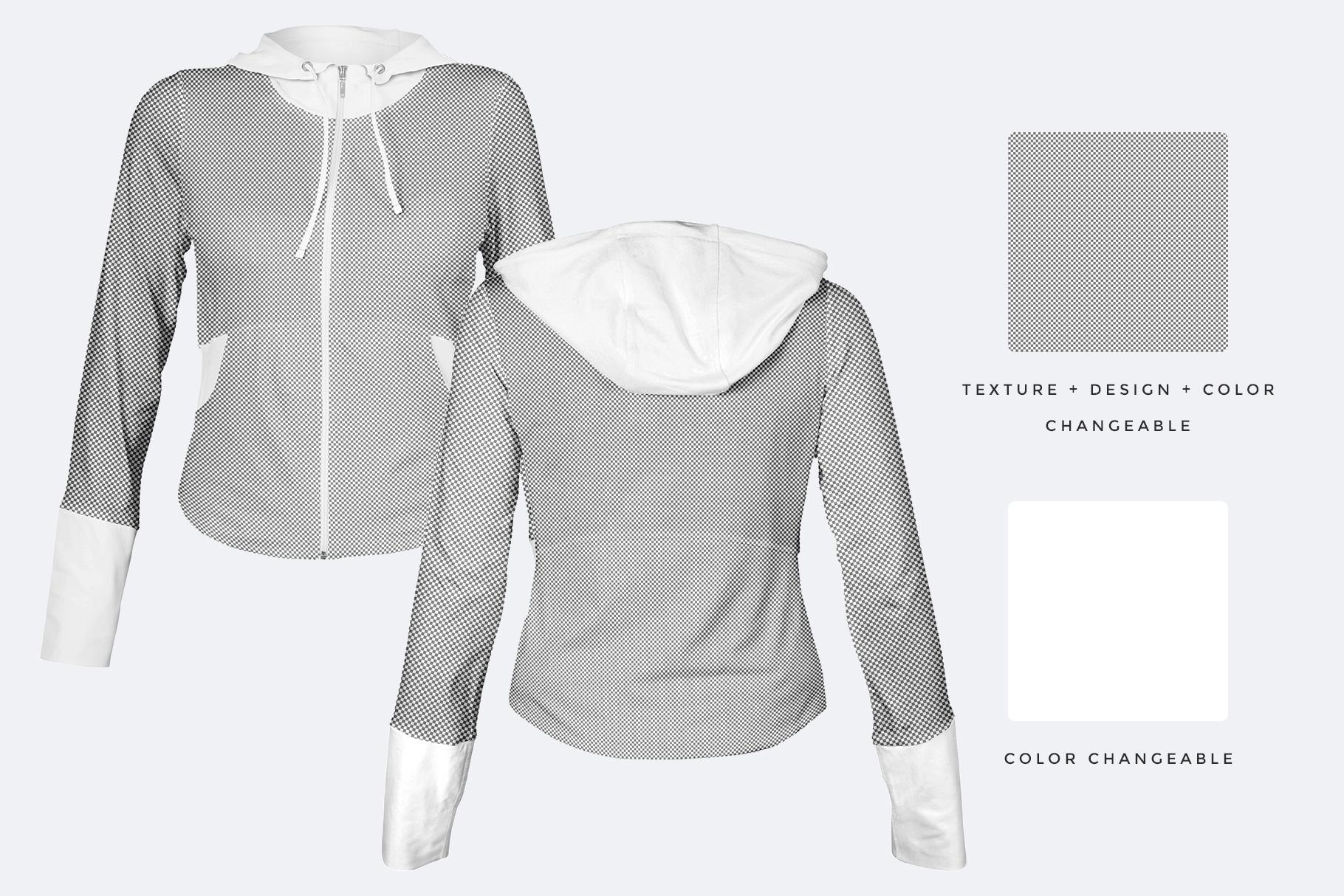 editable options of the female zip front hoodie mockup