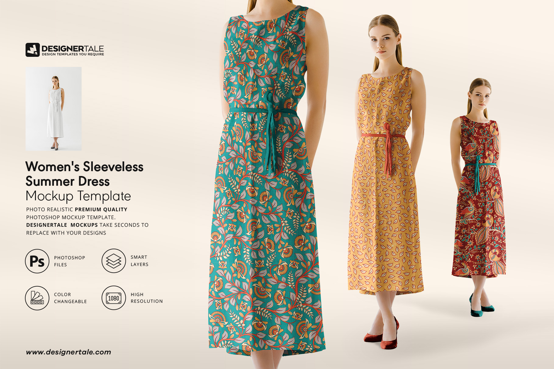 Woman sleeveless summer dress mockup
