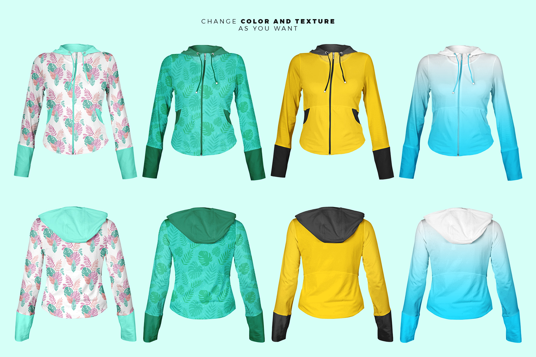 different variations of the female zip front hoodie mockup