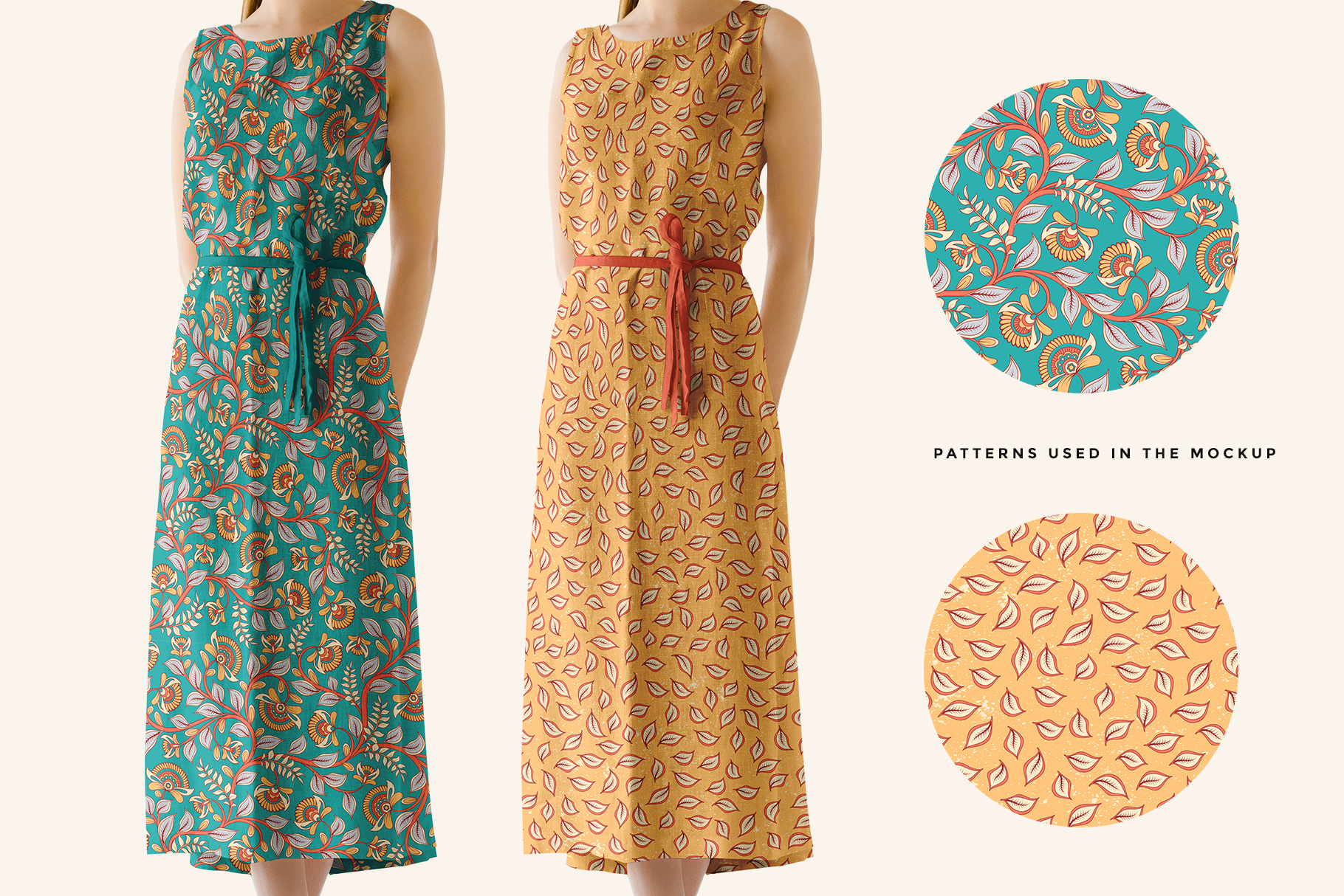 patterns used in women's sleeveless summer dress mockup