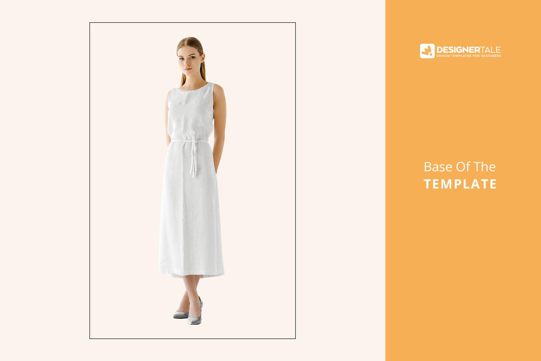 base image of women's sleeveless summer dress mockup