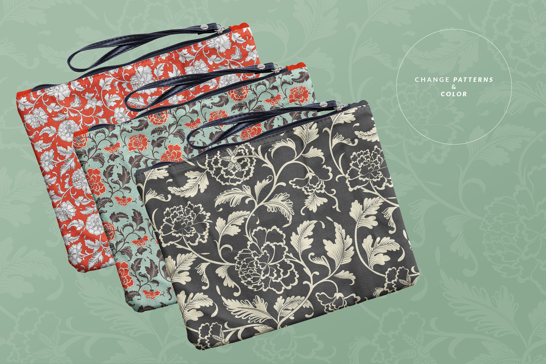 variations of the fabric wristlet bag mockup
