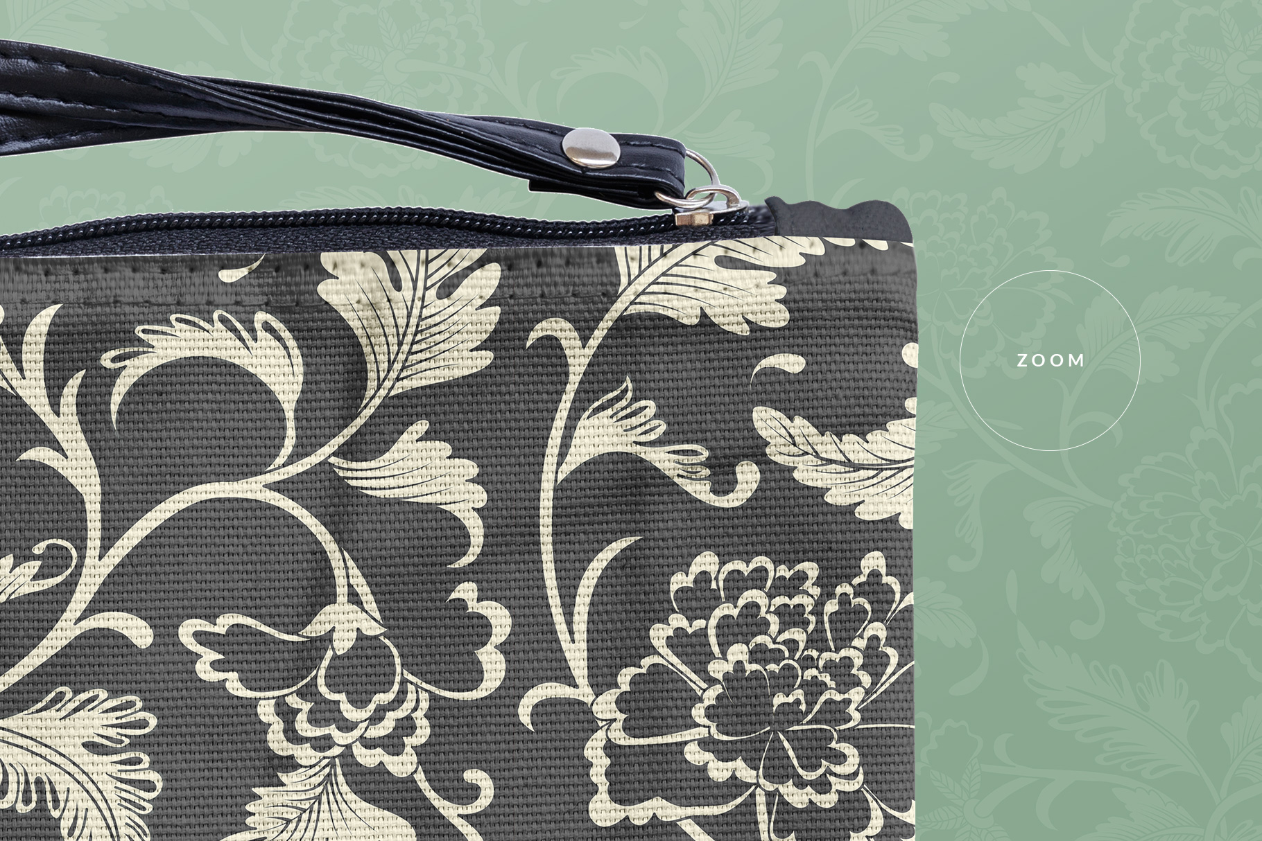 zoomed in image of the fabric wristlet bag mockup