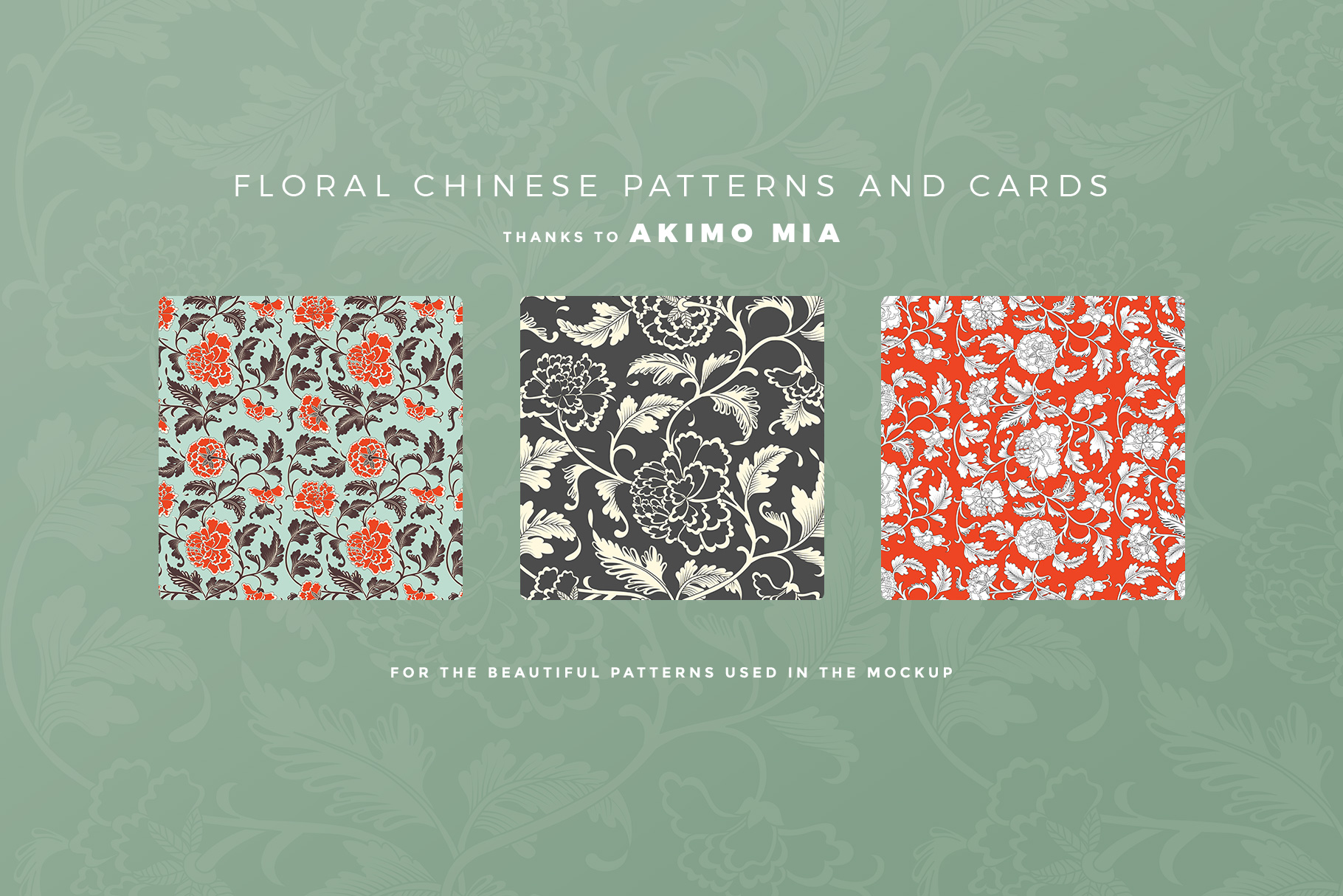 patterns used in the fabric wristlet bag mockup
