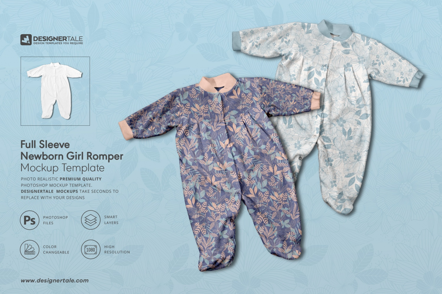 full sleeve newborn girl romper mockup