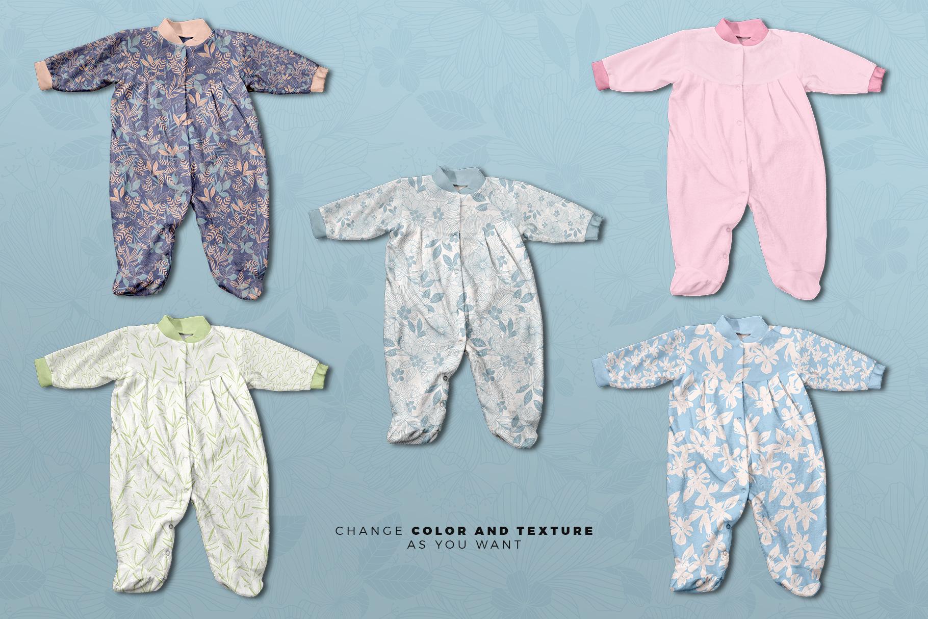variations of the full sleeve newborn girl romper mockup