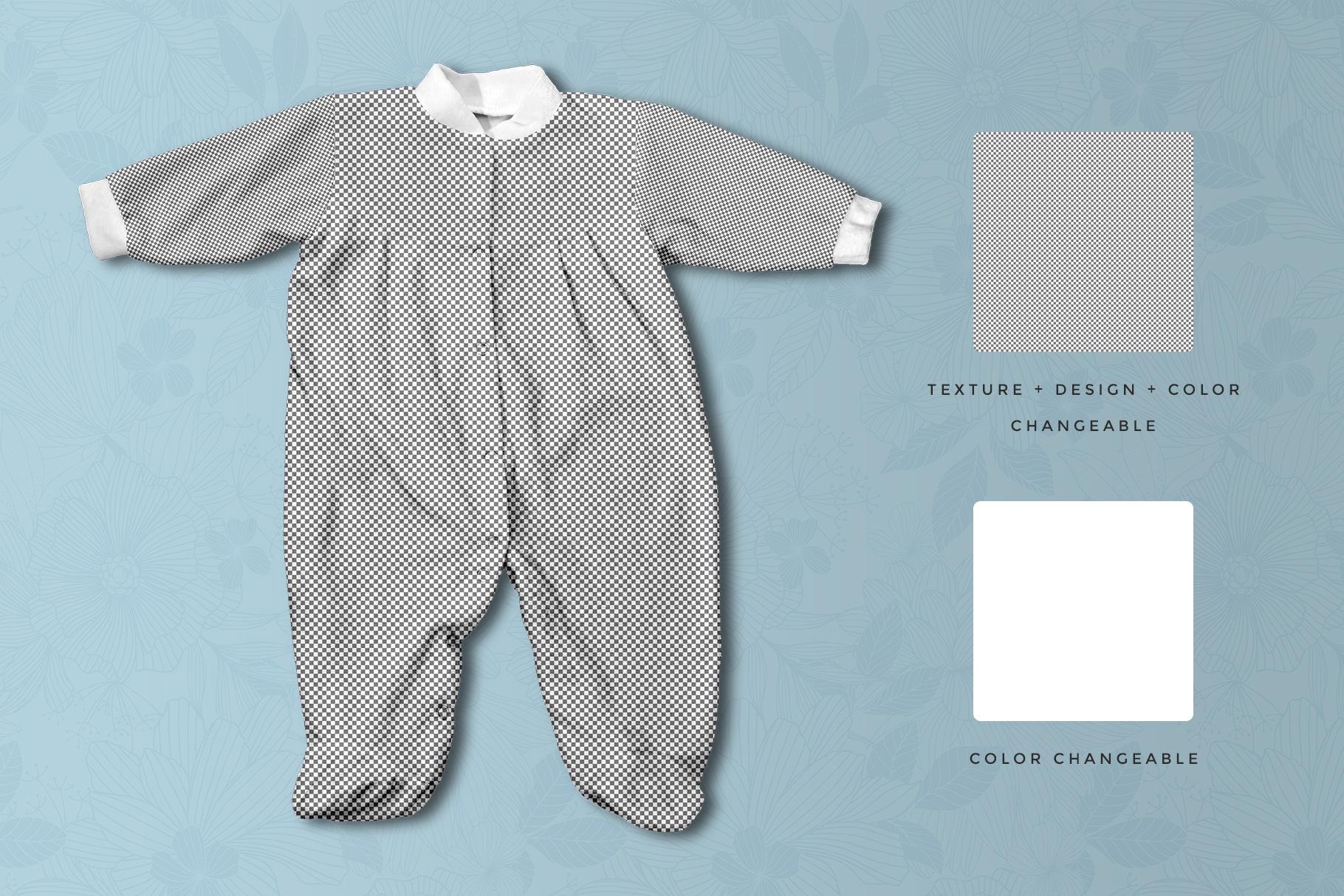 editable options of the full sleeve newborn girl romper mockup