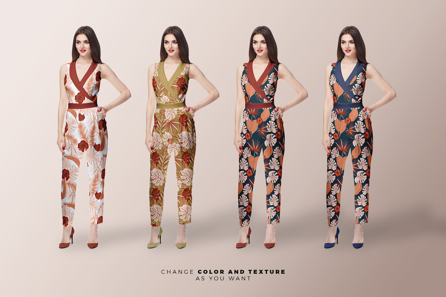variations of the women's jumpsuit mockup