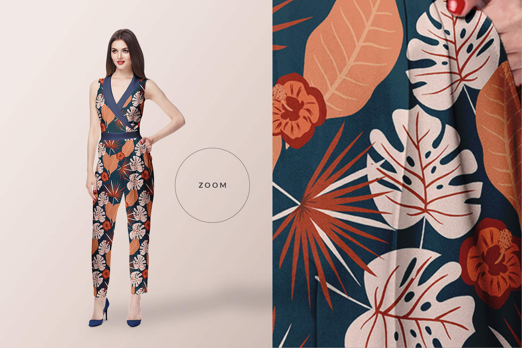 zoomed in image of the women's jumpsuit mockup