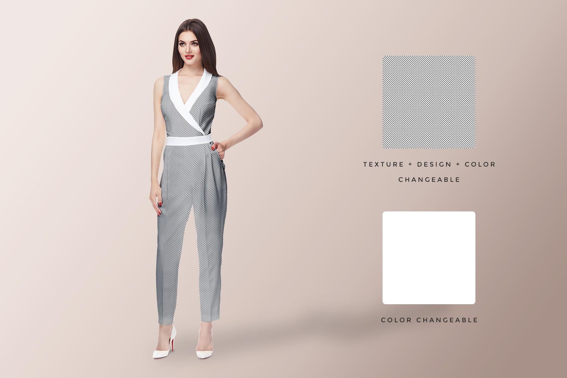editability options of the women's jumpsuit mockup