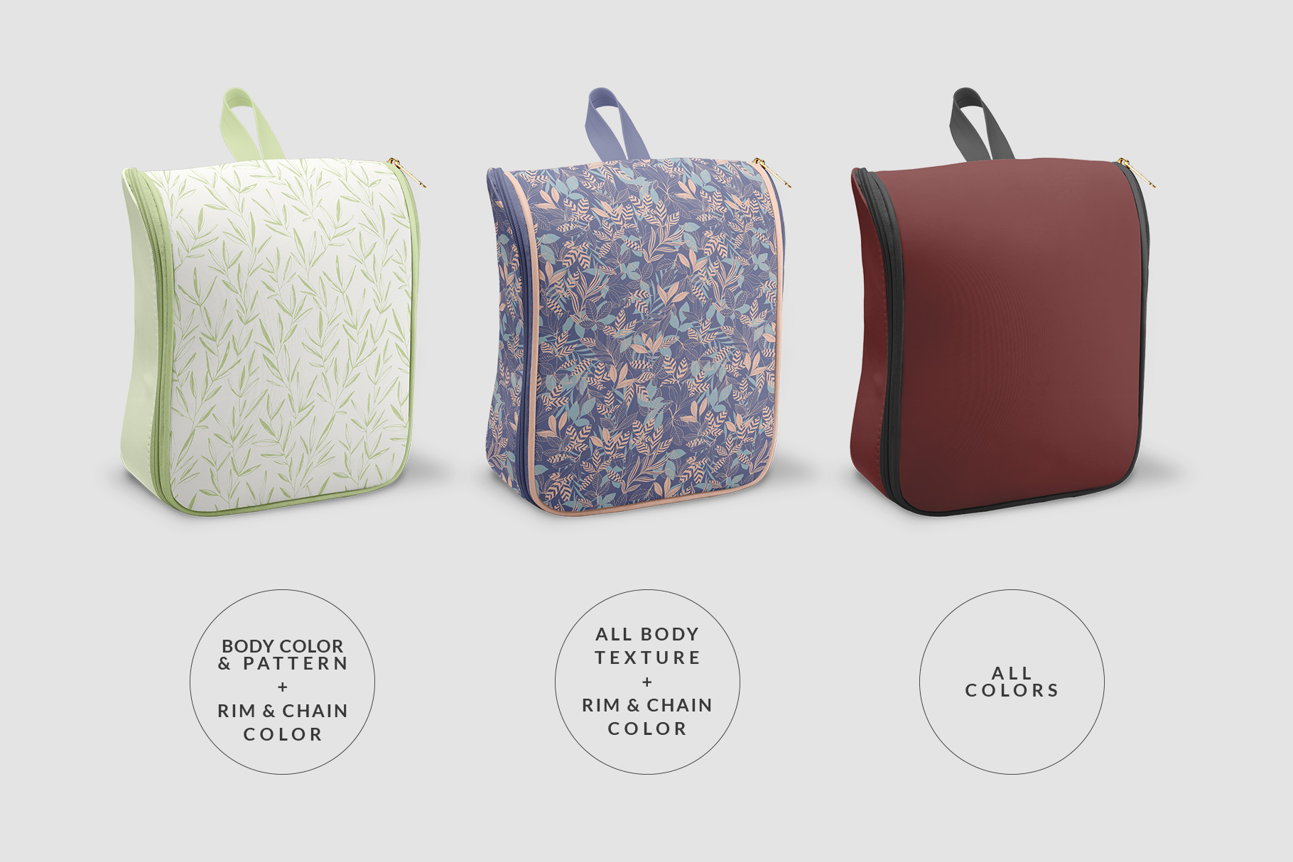 types of designes of the women's casual backpack mockup