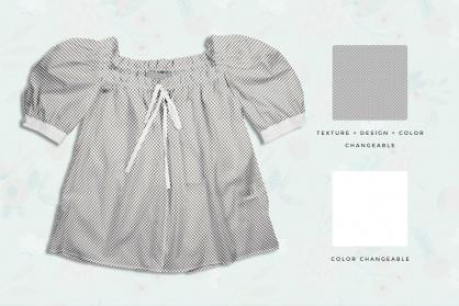 editability of the female puff shoulder blouse mockup