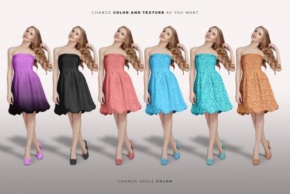 variations of the female shoulderless cocktail dress mockup