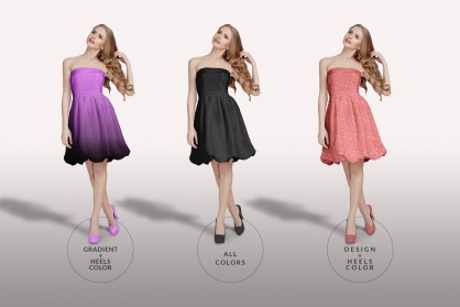 types of edit of the female shoulderless cocktail dress mockup