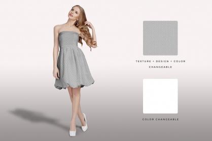 editability of the female shoulderless cocktail dress mockup