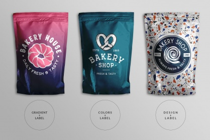types of designs of the top view foil ziplock pouch mockup