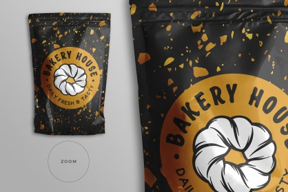 zoomed in image of the top view foil ziplock pouch mockup