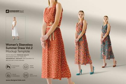 women's sleeveless summer dress mockup vol.2