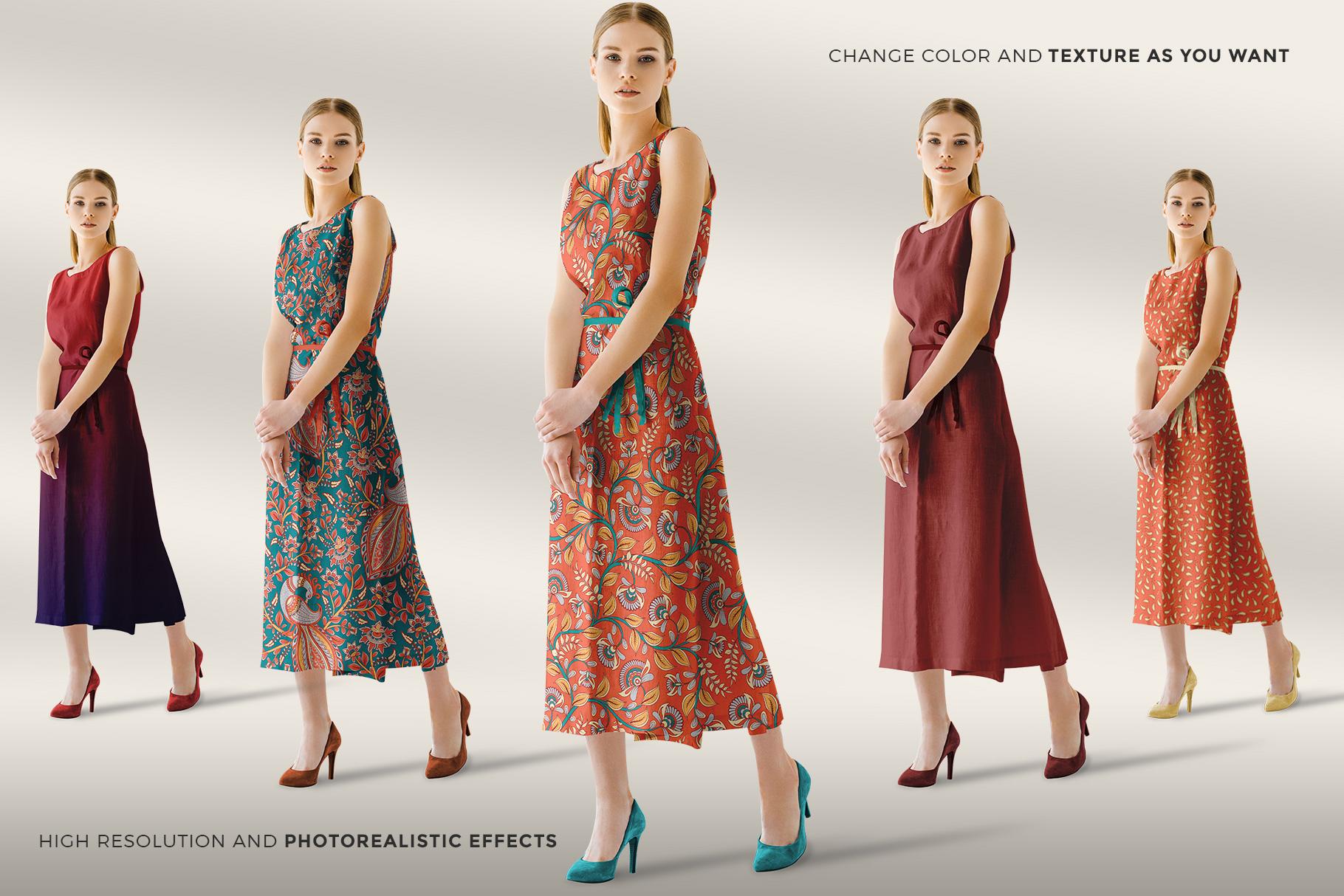 variations of the women's sleeveless summer dress mockup vol.2