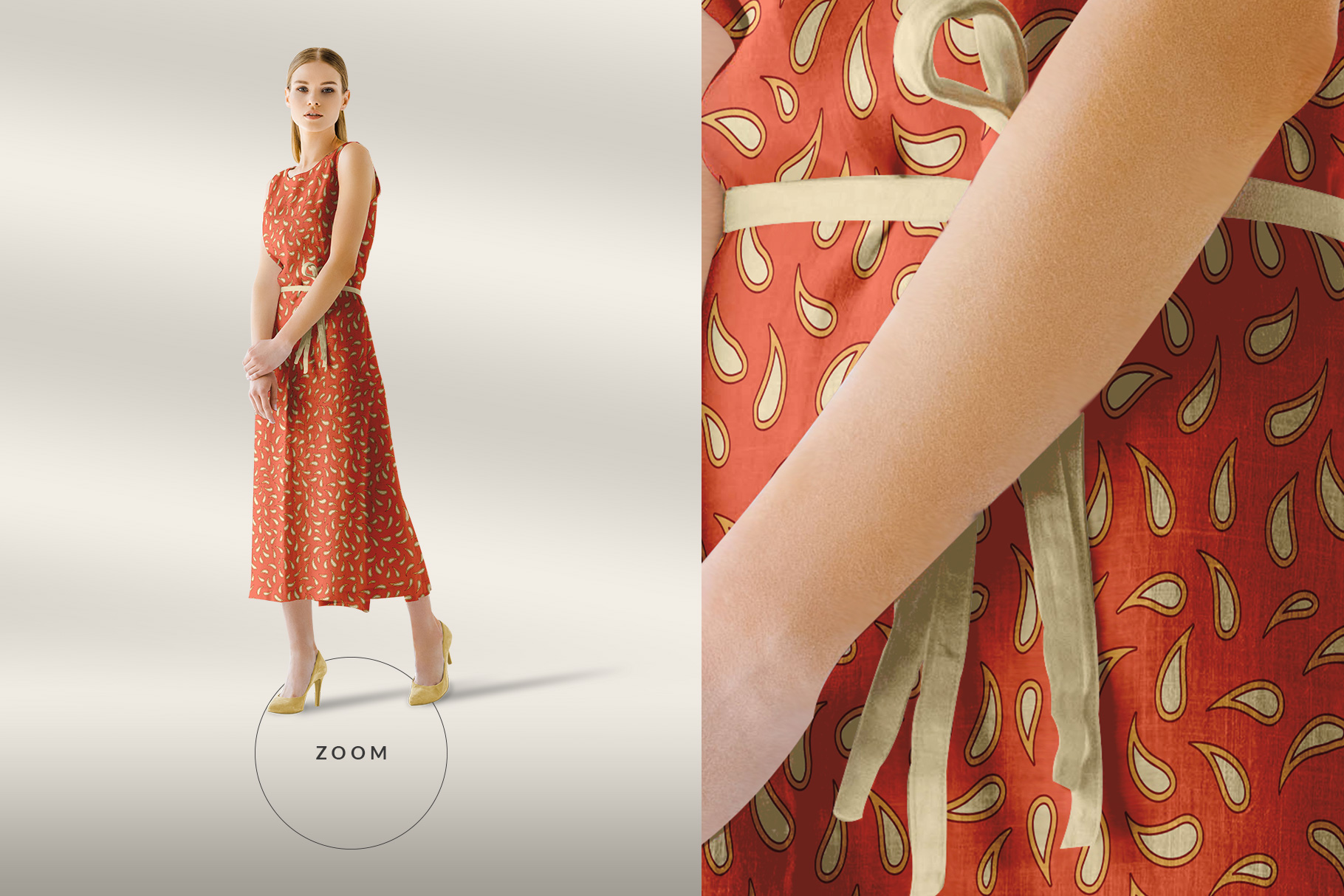 zoomed in image of the women's sleeveless summer dress mockup vol.2