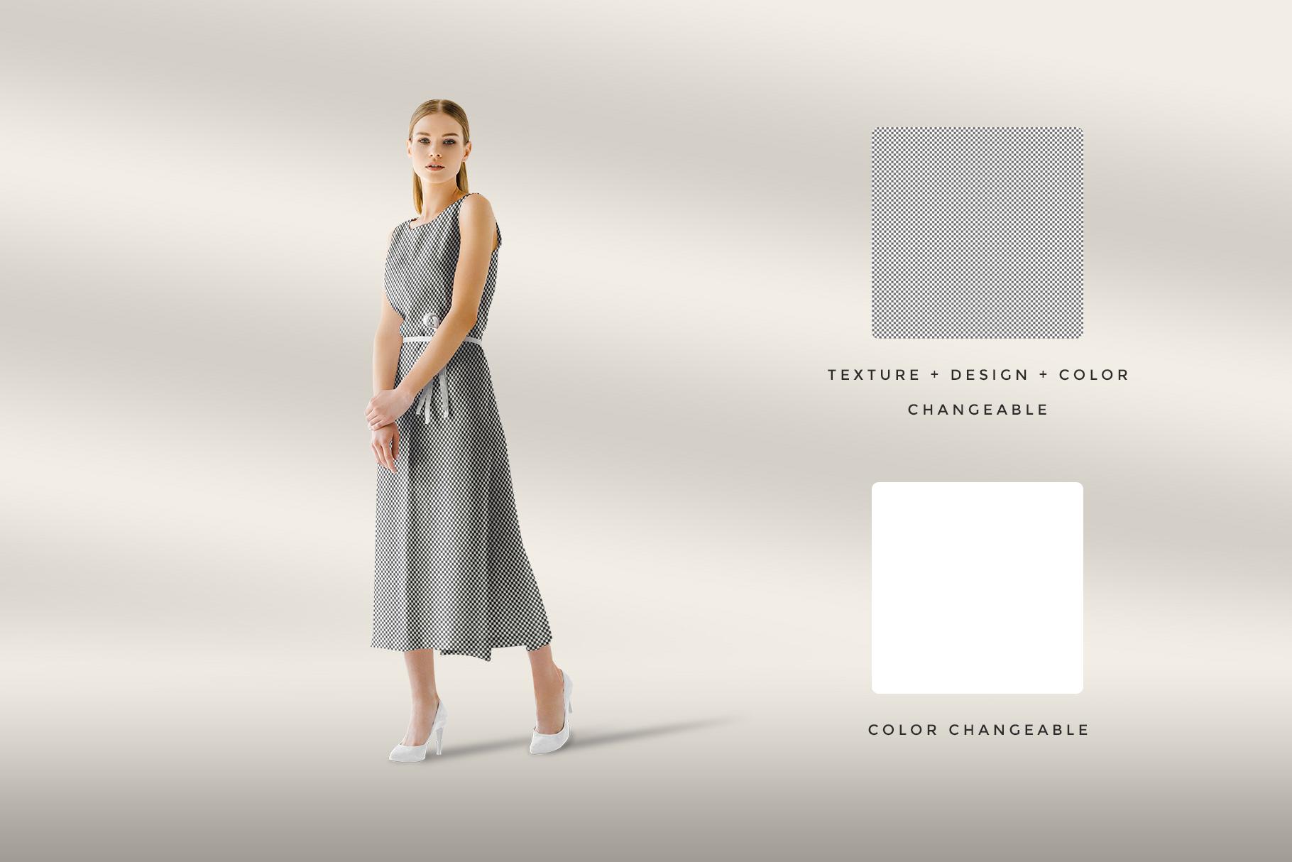 editability of the women's sleeveless summer dress mockup vol.2