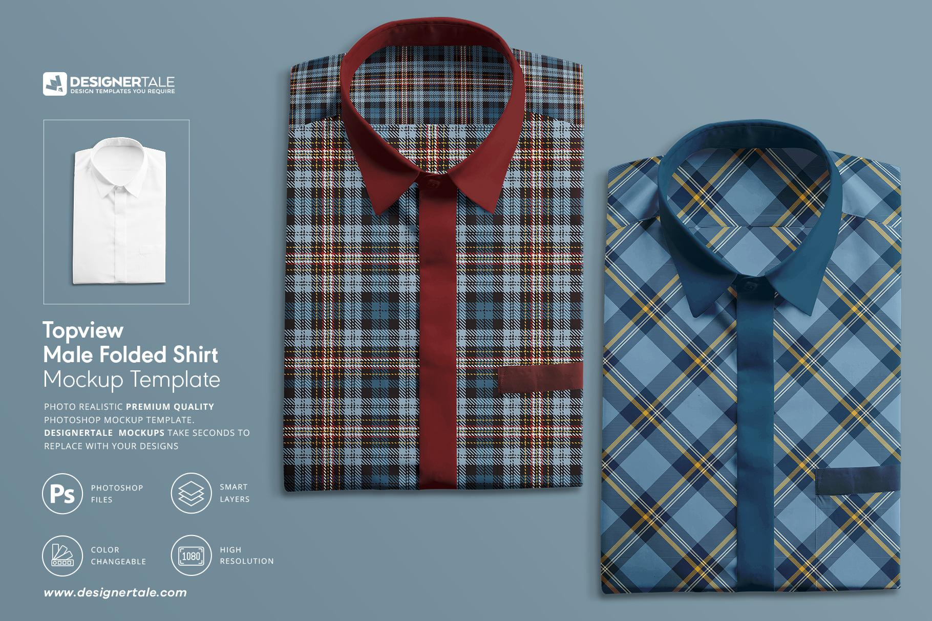 Top-view Male Folded Shirt Mockup