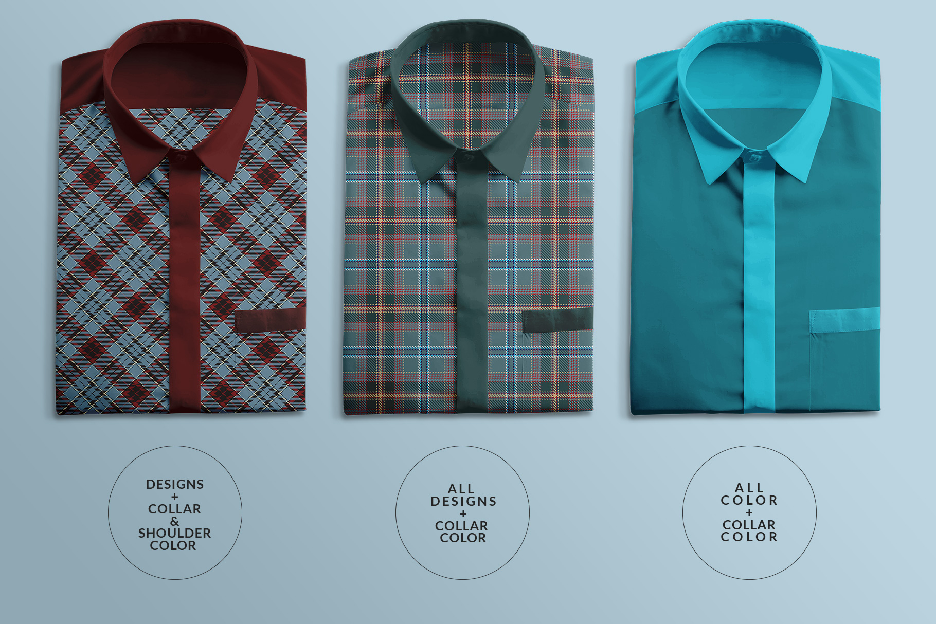types of topview male folded shirt mockup