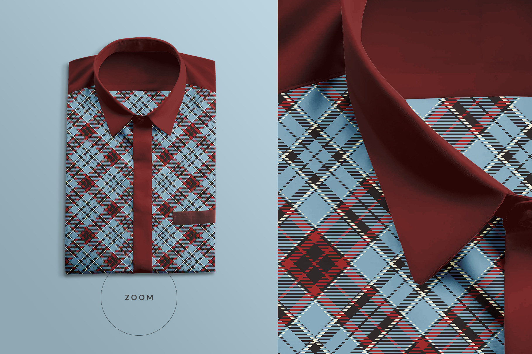 zoomed in image of the topview male folded shirt mockup