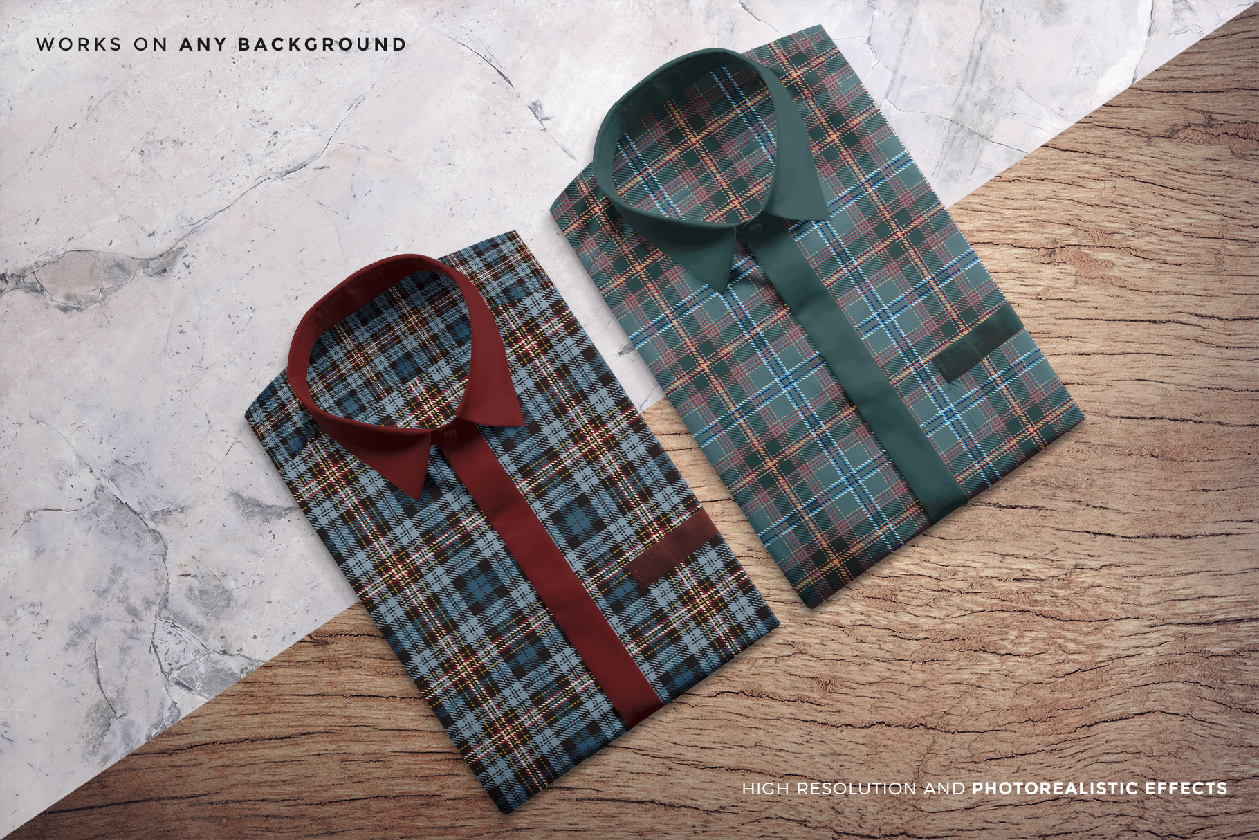 changeable background of the topview male folded shirt mockup