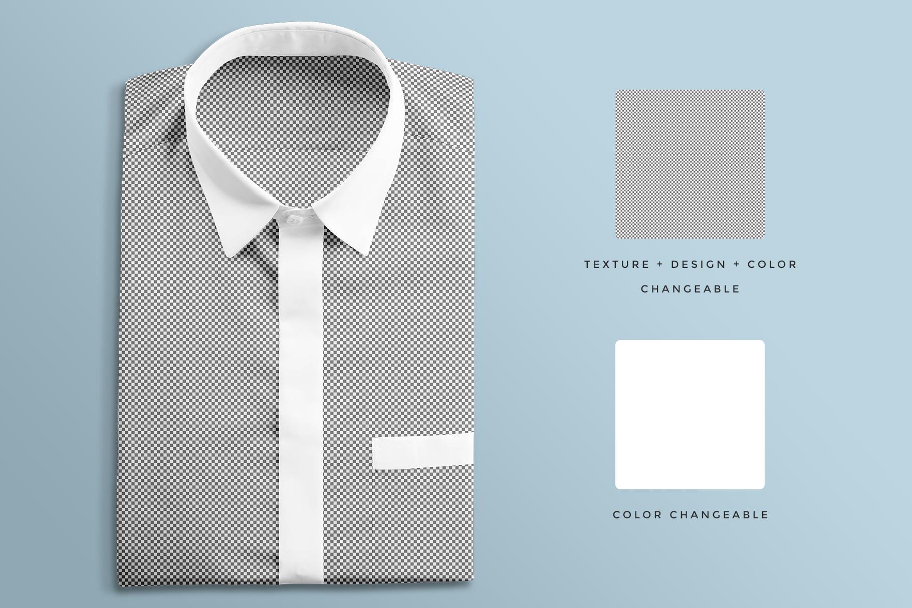 editability of the topview male folded shirt mockup