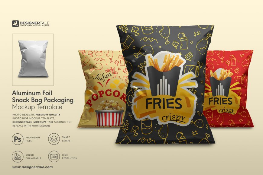 aluminum foil snack bag packaging mockup