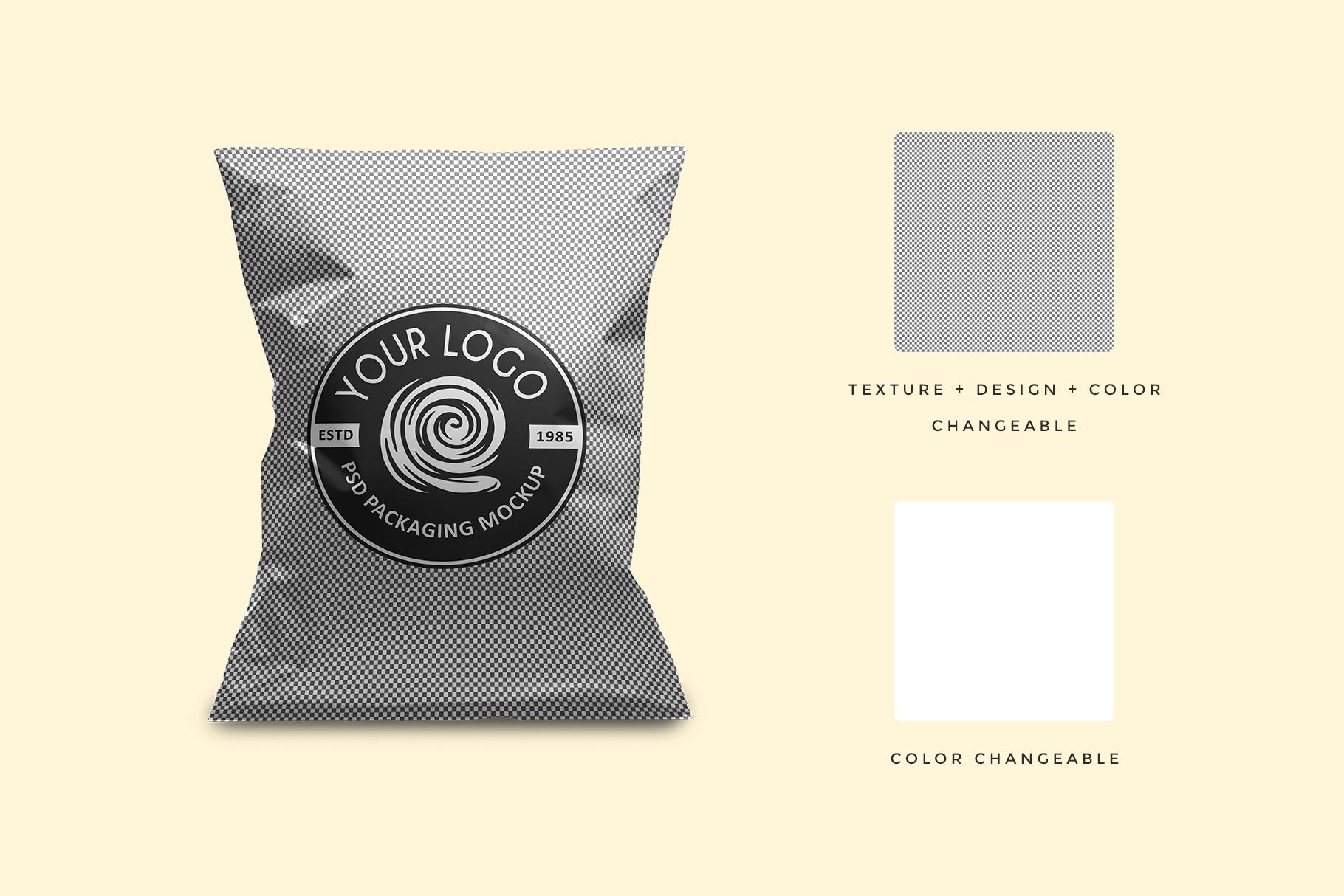 editability of the aluminum foil snack bag packaging mockup